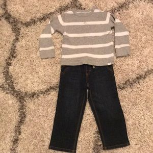 Toddler jeans and gap knit shirt